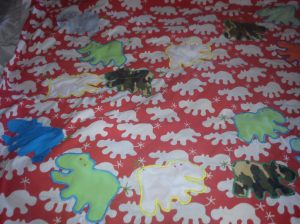 IKEA fabric printed with hippos, with even more hippos to embellish